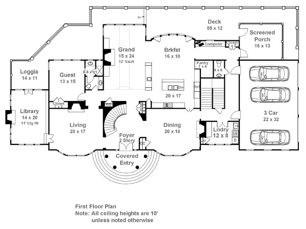 Carmichael estate 7932 5 bedrooms and 5 baths the for Estate home floor plans
