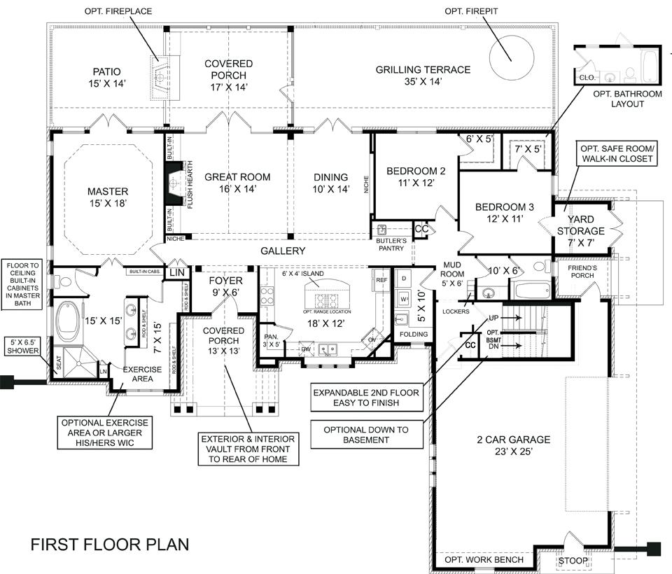 Lakeside House Plans Lake Cottage Floor Walkout Basement: Laurel 5215 - 3 Bedrooms And 2.5 Baths