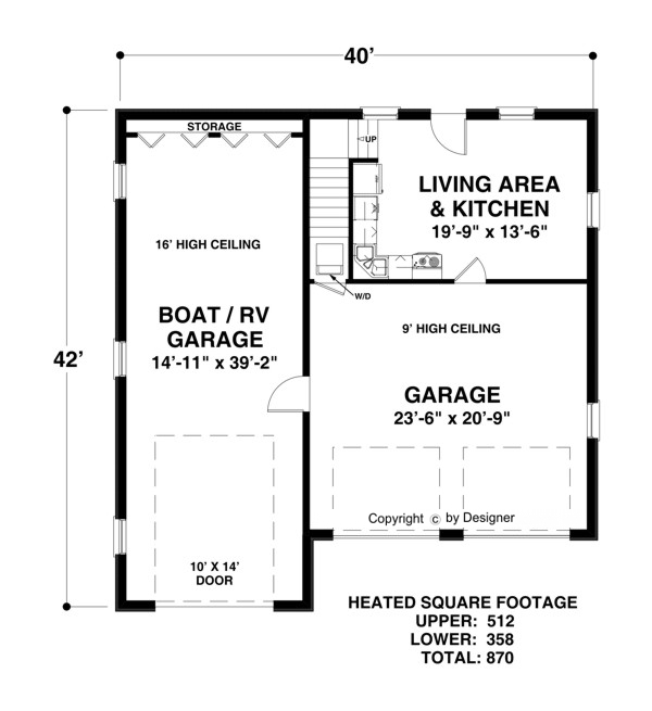 Boat rv garage 3068 1 bedroom and 1 5 baths the house for 1 5 car garage plans