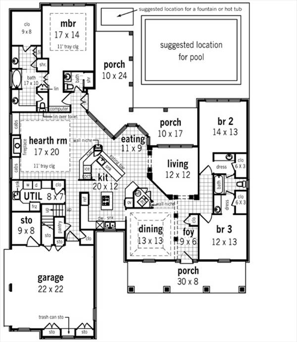 Trinity oaks 2614 2300 3 bedrooms and 2 baths the for 2300 square foot house plans