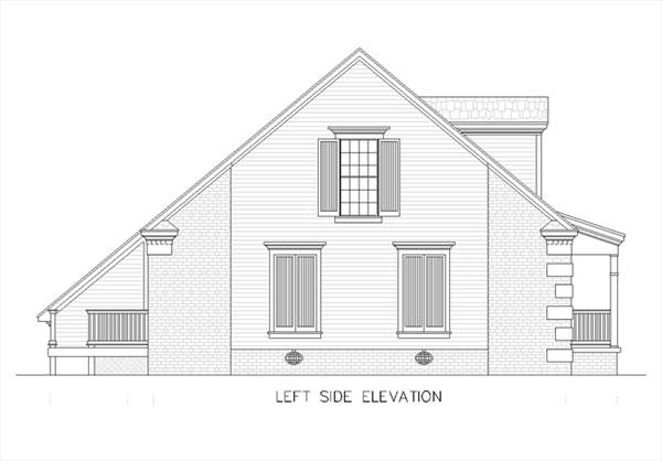 Left Elevation Plan : Eudora bedrooms and baths the house