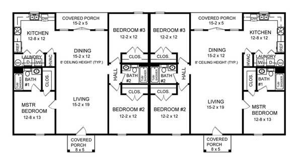 3-Bedroom Duplex House Plans