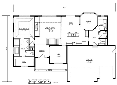 The morton 1700 3 bedrooms and 2 baths the house designers for Floor plans for building a house